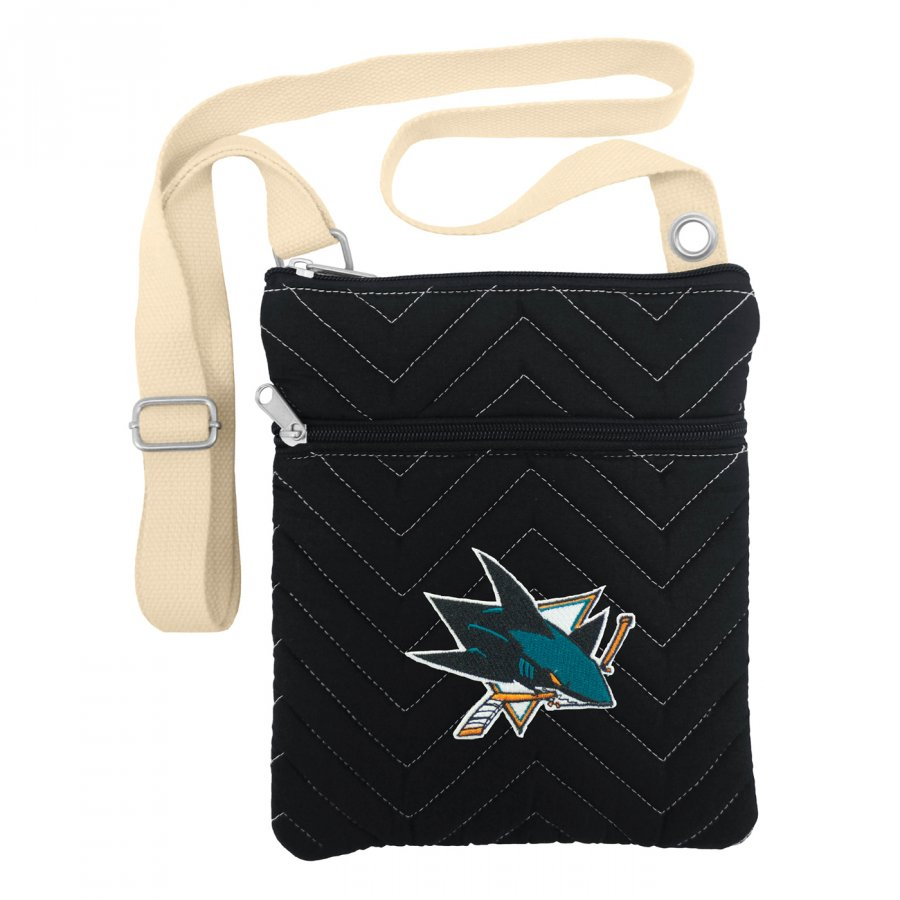 San Jose Sharks Chevron Stitch Crossbody Bag