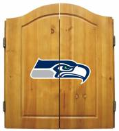 Seattle Seahawks NFL Complete Dart Board Cabinet Set (w/darts & flights)