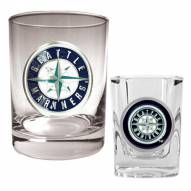Seattle Mariners MLB 14 Oz Rocks Glass & Square Shot Glass 2-Piece Set