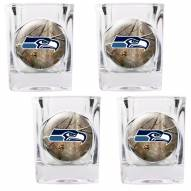 Seattle Seahawks Open Field 4-Piece RealTree Square Shot Glass Set