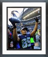 Seattle Seahawks Doug Baldwin NFC Championship Trophy 2014 Playoffs Framed Photo