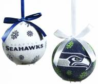 Seattle Seahawks LED Boxed Ornament Set
