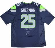 Seattle Seahawks Richard Sherman Signed Blue Nike Jersey