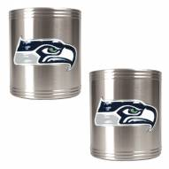 Seattle Seahawks Stainless Steel Can Coozie Set