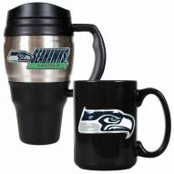 Seattle Seahawks Travel Mug & Coffee Mug Set