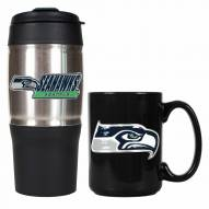 Seattle Seahawks Travel Tumbler & Coffee Mug Set