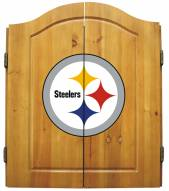 Pittsburgh Steelers NFL Complete Dart Board Cabinet Set (w/darts & flights)