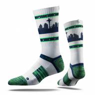 Strideline Seattle White Strapped Adult Crew Socks