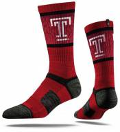 Strideline Temple Owls Crimson Adult Crew Socks