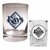 Tampa Bay Rays MLB 14 Oz Rocks Glass & Square Shot Glass 2-Piece Set