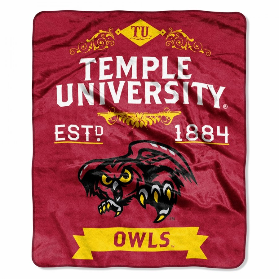 Temple Owls Label Raschel Throw Blanket