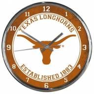 Texas Longhorns Round Chrome Wall Clock