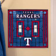 Texas Rangers Glass Double Switch Plate Cover