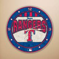 Texas Rangers MLB Stained Glass Wall Clock
