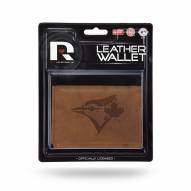 Toronto Blue Jays Brown Leather Trifold Wallet