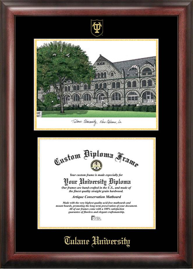celebrate your achievements with the tulane green wave gold embossed diploma frame with lithograph the gold embossed borders and imprinted university name - Diploma Frame Size