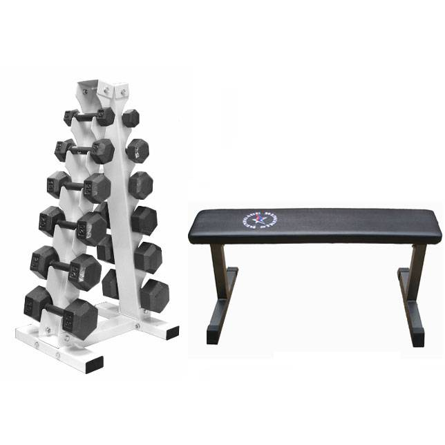 usa sports cast iron dumbbell package with flat bench