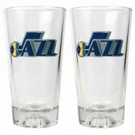 Utah Jazz Basketball Sculpted Bottom Pint Glass Set