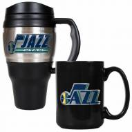 Utah Jazz Travel Mug & Coffee Mug Set