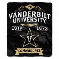 Vanderbilt Commodores Label Raschel Throw Blanket