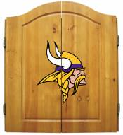 Minnesota Vikings NFL Complete Dart Board Cabinet Set (w/darts & flights)