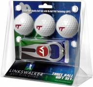 Virginia Tech Hokies Golf Ball Gift Pack with Hat Trick Divot Tool