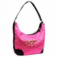 Virginia Tech Hokies Pink NCAA Quilted Hobo Handbag
