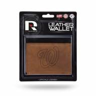 Washington Nationals Brown Leather Trifold Wallet