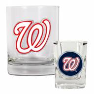 Washington Nationals MLB 14 Oz Rocks Glass & Square Shot Glass 2-Piece Set