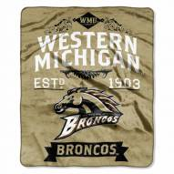Western Michigan Broncos NCAA Label Raschel Throw Blanket