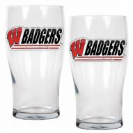 Wisconsin Badgers 20 oz. Pub Glass - Set of 2