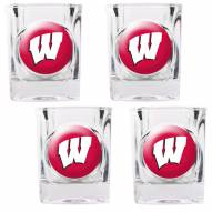 Wisconsin Badgers 4 Piece Square Shot Glasses