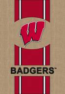 Wisconsin Badgers Burlap Flag