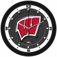 Wisconsin Badgers Carbon Fiber Wall Clock