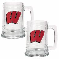 Wisconsin Badgers College Glass Tankard Beer Mug 2-Piece Set