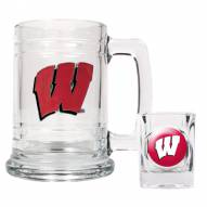 Wisconsin Badgers Glass Mug & Shot Glass Set