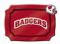 Wisconsin Badgers Glass Rectangle Platter with Charm