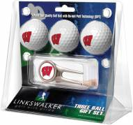 Wisconsin Badgers Golf Ball Gift Pack with Cap Tool
