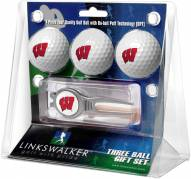 Wisconsin Badgers Golf Ball Gift Pack with Kool Tool