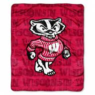Wisconsin Badgers Micro Grunge Blanket