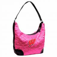 Wisconsin Badgers Pink NCAA Quilted Hobo Handbag