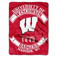 Wisconsin Badgers Rebel Raschel Throw Blanket