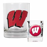 Wisconsin Badgers Rocks Glass & Shot Glass Set