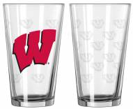 Wisconsin Badgers Satin Etch Pint Glass - Set of 2