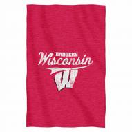 Wisconsin Badgers Script Sweatshirt Throw Blanket