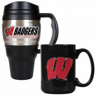 Wisconsin Badgers Travel Mug & Coffee Mug Set