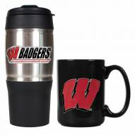 Wisconsin Badgers Travel Tumbler & Coffee Mug Set