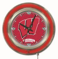 Wisconsin Badgers W Logo Neon Clock
