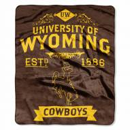 Wyoming Cowboys Label Raschel Throw Blanket